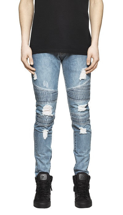 Destroyed Biker Denim - Blue