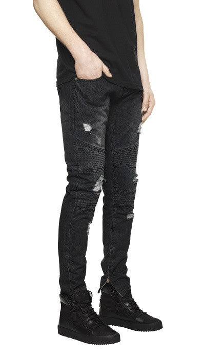 Destroyed Biker Denim - Stonewash Black