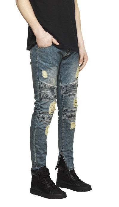 Destroyed Biker Denim - Sandwash