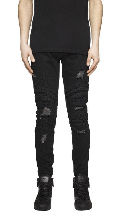 Destroyed Biker Denim - Black