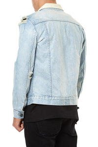 DENIM JACKET DISTRESSED - LIGHT BLUE.