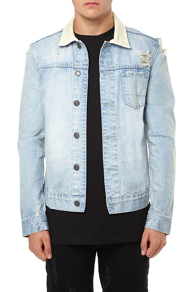 DENIM JACKET DISTRESSED - LIGHT BLUE