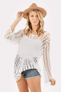 LoveRiche Crochet Cover Up-White