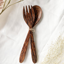 Load image into Gallery viewer, Natural coconut spoon and coconut fork by Fairy Superfoods