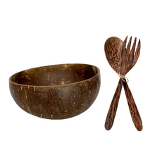 Load image into Gallery viewer, 100% natural coconut bowl, coconut spoon, and coconut fork which are handcrafted from real coconuts in Vietnam and Asia.