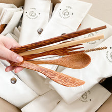 Load image into Gallery viewer, Coconut cutlery set with bamboo straw, coconut chopsticks, coconut spoon fork and knife