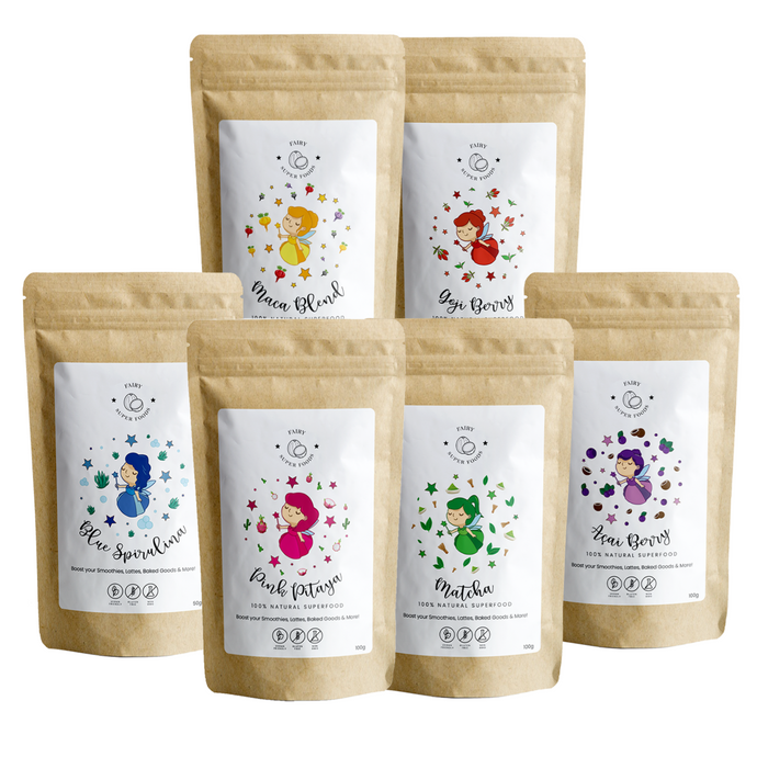 All in one bundle with 6 superfood powders, blue spirulina, pink pitaya, matcha, acai berry, maca blend, and goji berry