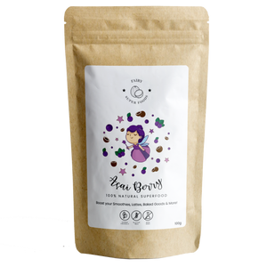 Fairy Superfoods Acai Berry powder is 100% natural. It is packed with vitamins and minerals. Strengthen your immune system and boost your skin health by adding Açai Berry powder to your smoothies!