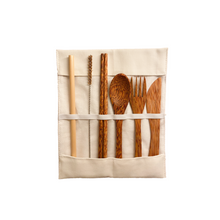 Afbeelding in Gallery-weergave laden, Coconut cutlery set with bamboo straw, coconut chopsticks, coconut spoon fork and knife