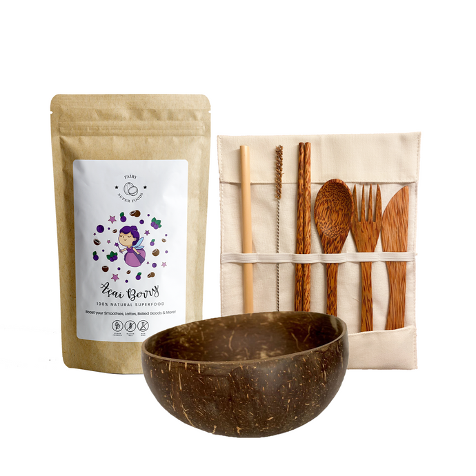 Acai Berry Kit with 1 Acai berry powder, coconut bowl, coconut cutlery set with bamboo straw, coconut chopsticks, spoon, fork, and knife