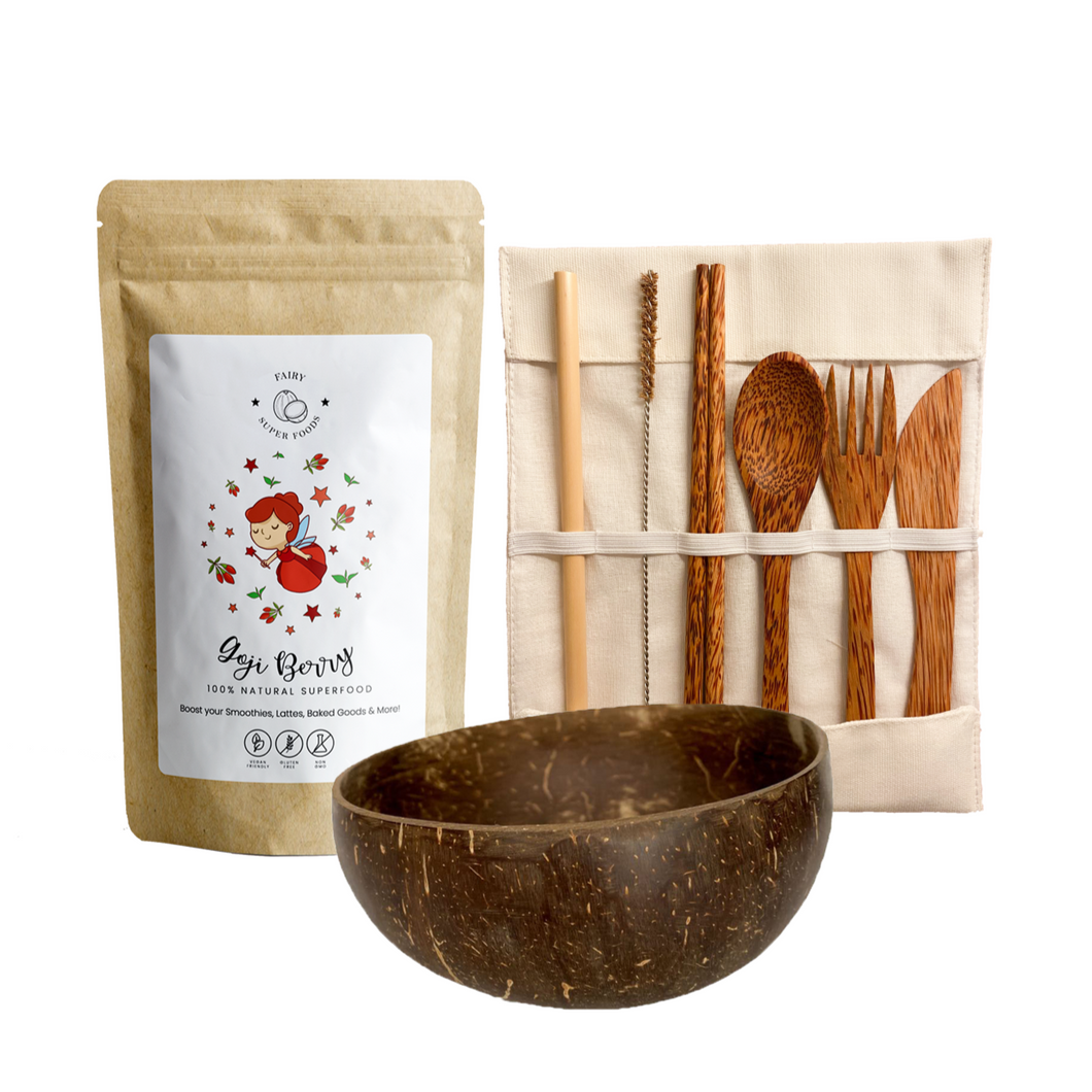 Goji Berry Kit with 1 Goji berry powder, coconut bowl, coconut cutlery set with bamboo straw, coconut chopsticks, spoon, fork, and knife