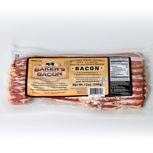 Baker's Bacon thick sliced double smoked dry cured bacon