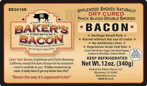 Baker's Bacon Thick Sliced Double Smoked Bacon BB2010R label