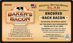 Baker's Bacon Uncured Back Bacon Slab BB4000 label