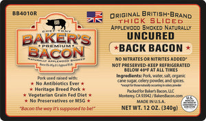 Baker's Bacon Uncured Back Bacon BB4010R label