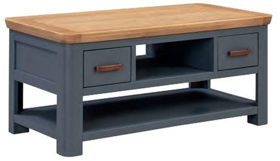 Truro Midnight Blue Standard Coffee Table with Drawers