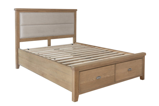 Havana Wooden Bed with Fabric Headboard and Drawer Footboard Set