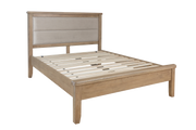 Havana Wooden Bed with Fabric Headboard and Low Footboard Set