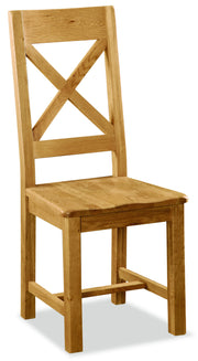 Dartmoor Cross Back Dining Chair With Wooden Seat