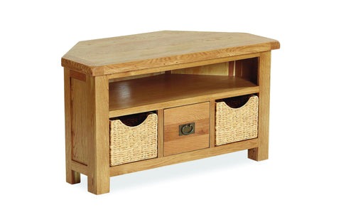 Dartmoor Corner TV Unit With Baskets