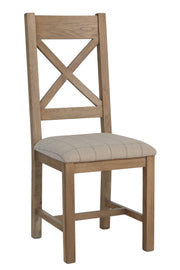 Havana Wooden Cross Back Dining Chair (Natural Check)