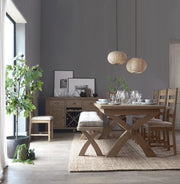 Havana Wooden Slatted Dining Chair (Grey Check)