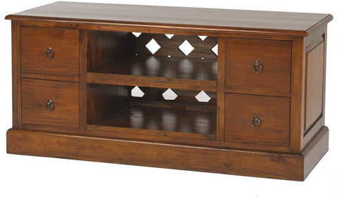 Mahogany TV Unit with DVD Drawers