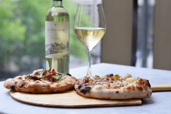 pizza and wine at Eataly