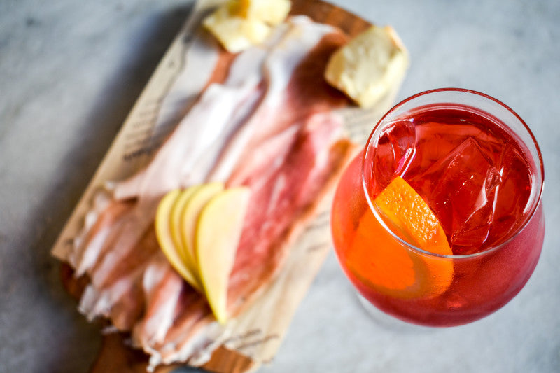 aperol spritz with salumi board