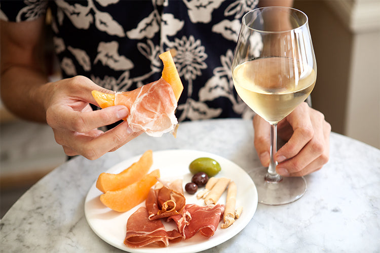 prosciutto melon and wine