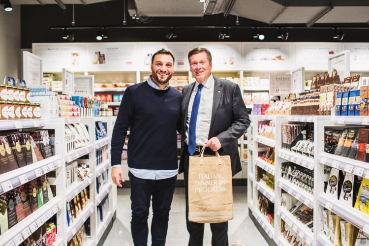Toronto mayor John Tory and Nicola Farinetti at Eataly Toronto opening