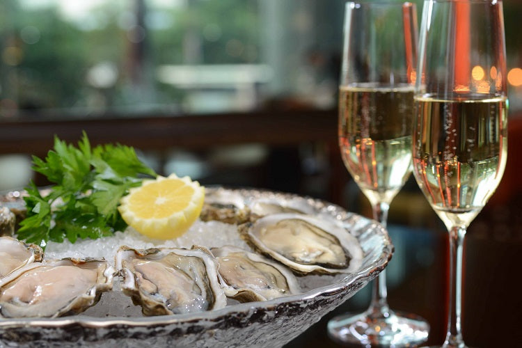 sparkling wine and oysters