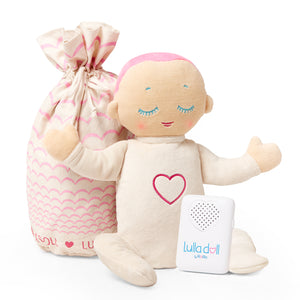 Lulla doll Coral. Sleep solution for babies and toddlers. Helping them fall asleep easier and stay asleep for longer.