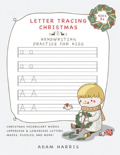 Young boy playing with wreath against kids handwriting practice paper background