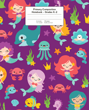 Load image into Gallery viewer, Mermaids and other ocean friends on purple background