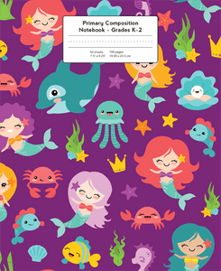 Mermaids and other ocean friends on purple background