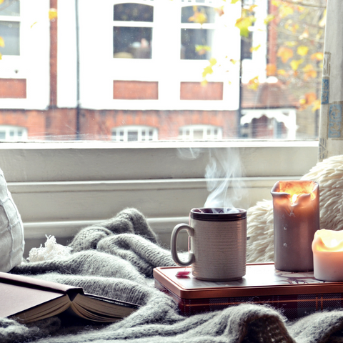cozy autumn stay at home have a tea and cookies