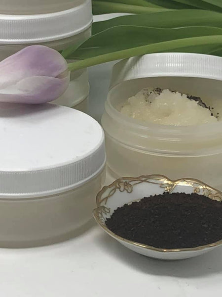 Coffee Sugar Scrub. BRAND NEW LARGE JARS. Premium coffee sugar scrub with safflower oil. Vitamin E and B. NEW 6 ounces. The oils are spot on. Smells just like a cup of strong coffee