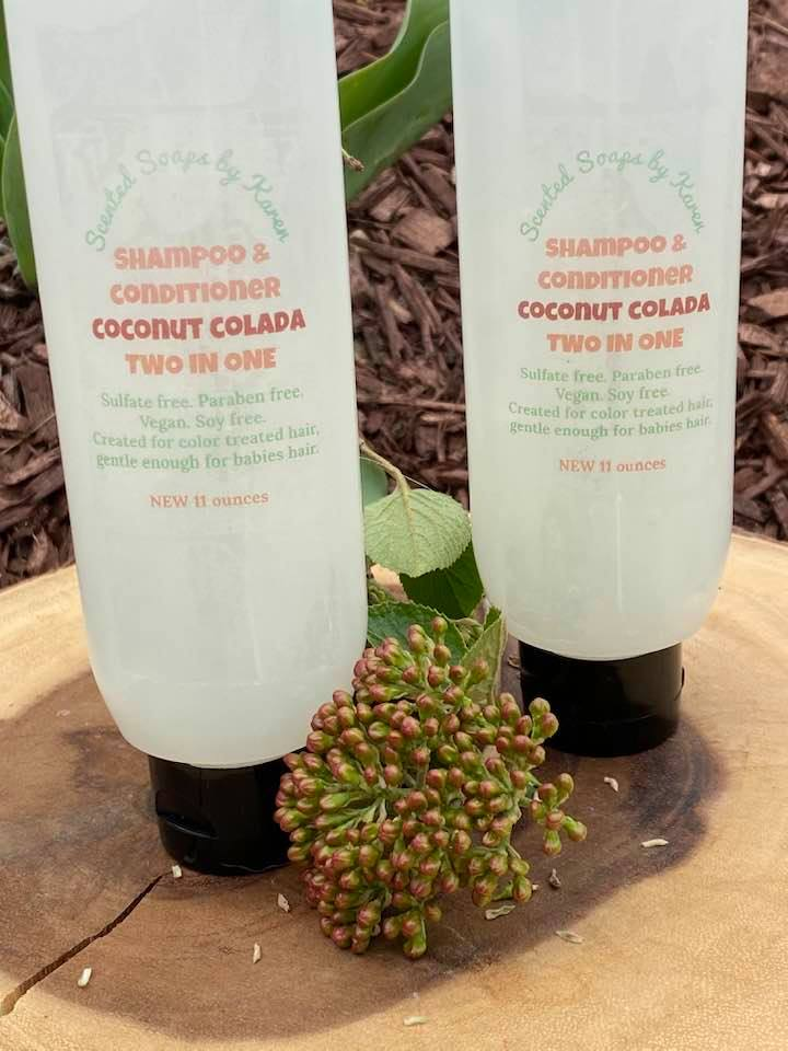 Shampoo & Conditioner. 2 in 1. Coconut Colada. Sulfate free. Paraben free. 11 ounces