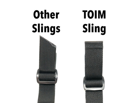 comparison of how the ends of the webbing are finished between other slings and the TOIM sling