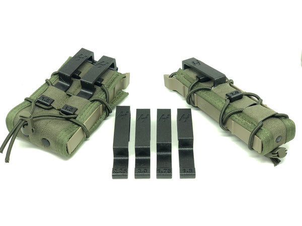 hsgi pistol, rifle, smg taco with molle to belt loop adapters installed with the whole range of belt loop adapter sizes in the middle