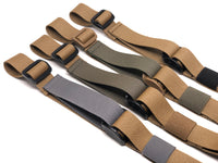 Four Coyote Brown TOIM customizable quick adjust two point slings with a mixutre of ranger green, coyote brown, and black pull tabs, hardware, and elastic keepers