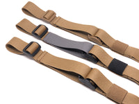 Three Coyote Brown TOIM customizable quick adjust two point slings with a mixutre of ranger green, coyote brown, and black pull tabs, hardware, and elastic keepers