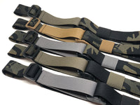 Five Multicam Black TOIM customizable quick adjust two point slings with a mixutre of ranger green, coyote brown, and black pull tabs, hardware, and elastic keepers