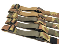 Five Multicam TOIM customizable quick adjust two point slings with a mixutre of ranger green, coyote brown, and black pull tabs, hardware, and elastic keepers