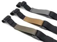 Three black TOIM customizable quick adjust two point slings with ranger green, coyote brown, and wolf grey pull tabs