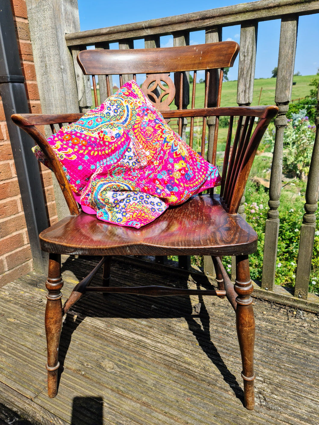 Pink Paisley Kantha Cushion Cover