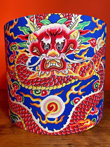 funky Chinese dragon lampshade with blue background very unusual