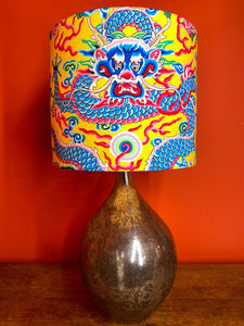 unique Chinese dragon lampshade with yellow background for a table lamp or lampstand