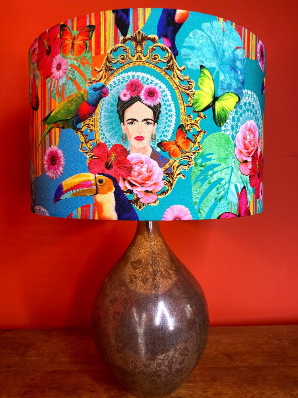 Brightly coloured Frida Kahlo large lampshade great simple way to add colour to your home